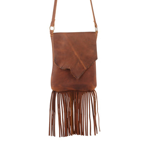 Leather Fringe Purse in Cognac