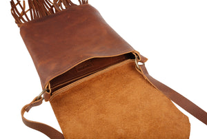 Cognac Leather Fringe Crossbody Purse