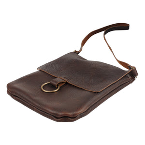 Cross Body Leather Bag in Dark Chocolate