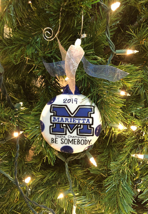 2019 State Champs Blue Devil Puff Ornament.