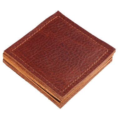 Leather Coaster Set in Cognac