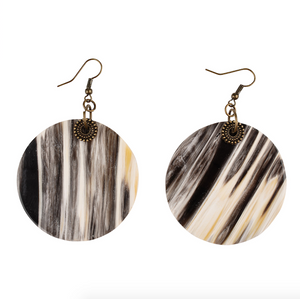Solid Circle Horn and Brass Earrings