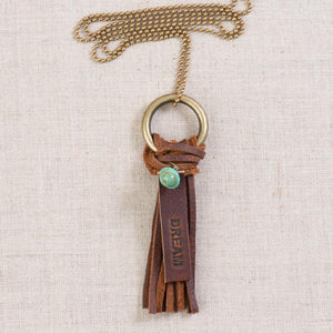 Dream Leather Tassle Necklace (Handmade)