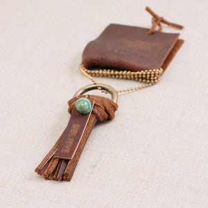 Believe Leather Tassle Necklace (Handmade)