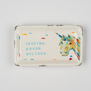 Imagine Dream Believe Unicorn Trinket Tray
