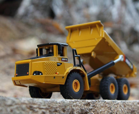 Image of 1:50 Alloy Articulated Dump Truck Model Yellow Diecasts & Toy Vehicles