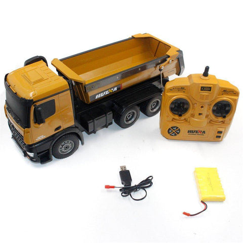 1/14 Scale 10Ch Alloy Rtr Rc Dump Truck (Huina 573) Brown Cars