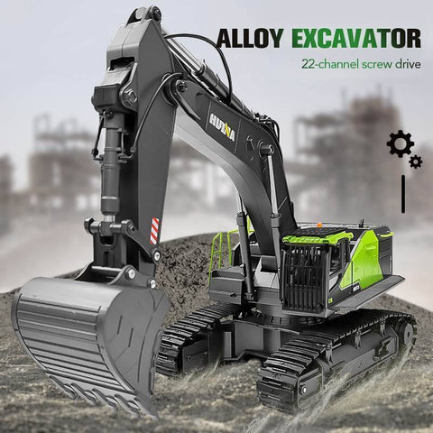 Huina 593 1:14 Rc Excavator 22Ch Rotation Alloy Green Remote Control Truck Toys Screw Drive Double