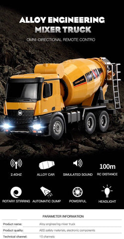 Image of 1:14 Scale Rc Concret Mixer Truck
