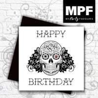 'Sugar Skull' Happy Birthday - Hand made tattoo skull style card