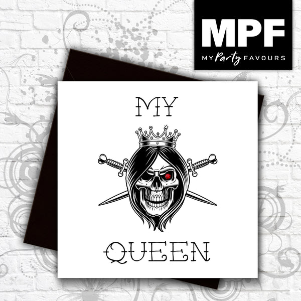 'My Queen' - Hand made tattoo skull style card