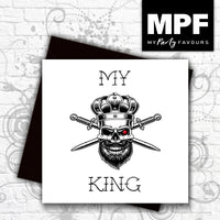 'My King' - Hand made tattoo skull style card