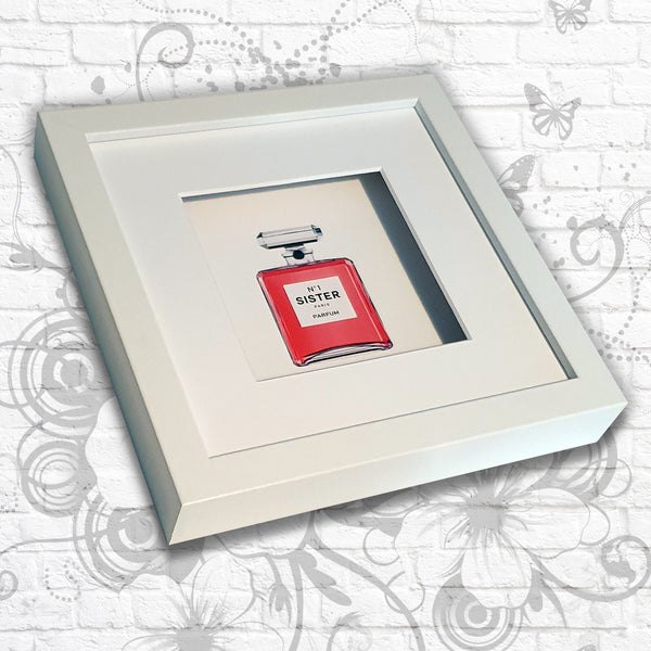 Perfume Print 'No.1' Sister/Mum/Daughter Art Box Frame (Pink)