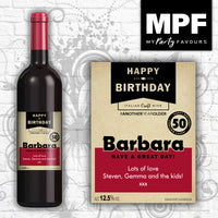 Personalised Craft Birthday wine bottle Label
