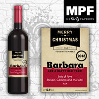 Personalised Craft Christmas wine bottle Label