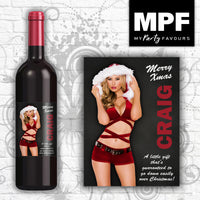 Personalised Christmas Sexy Santa Novelty Wine Bottle Label (Female)