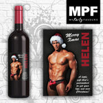 Personalised Christmas Sexy Santa Novelty Wine Bottle Label (Male)