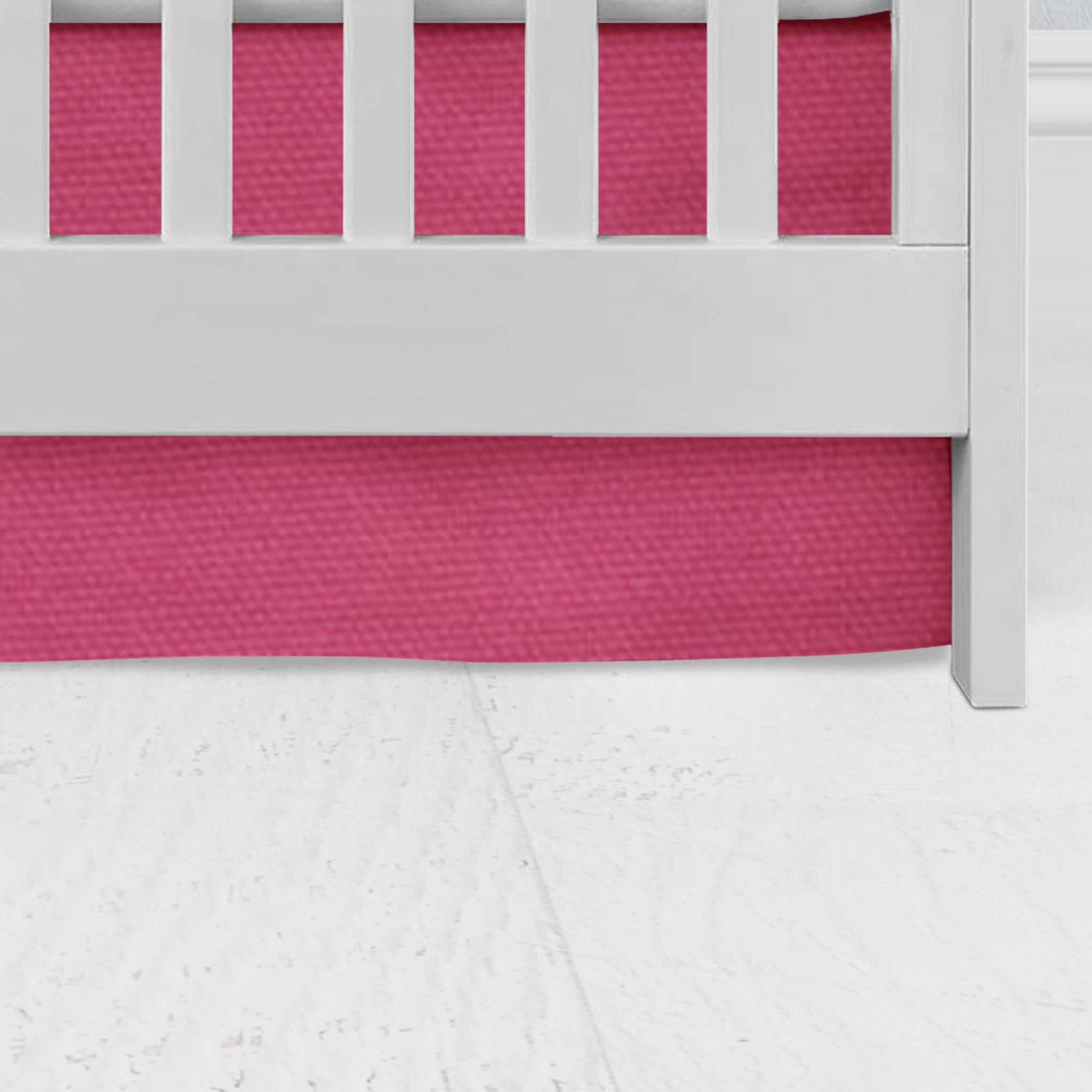 Candy Pink Flat Panel Crib Skirt