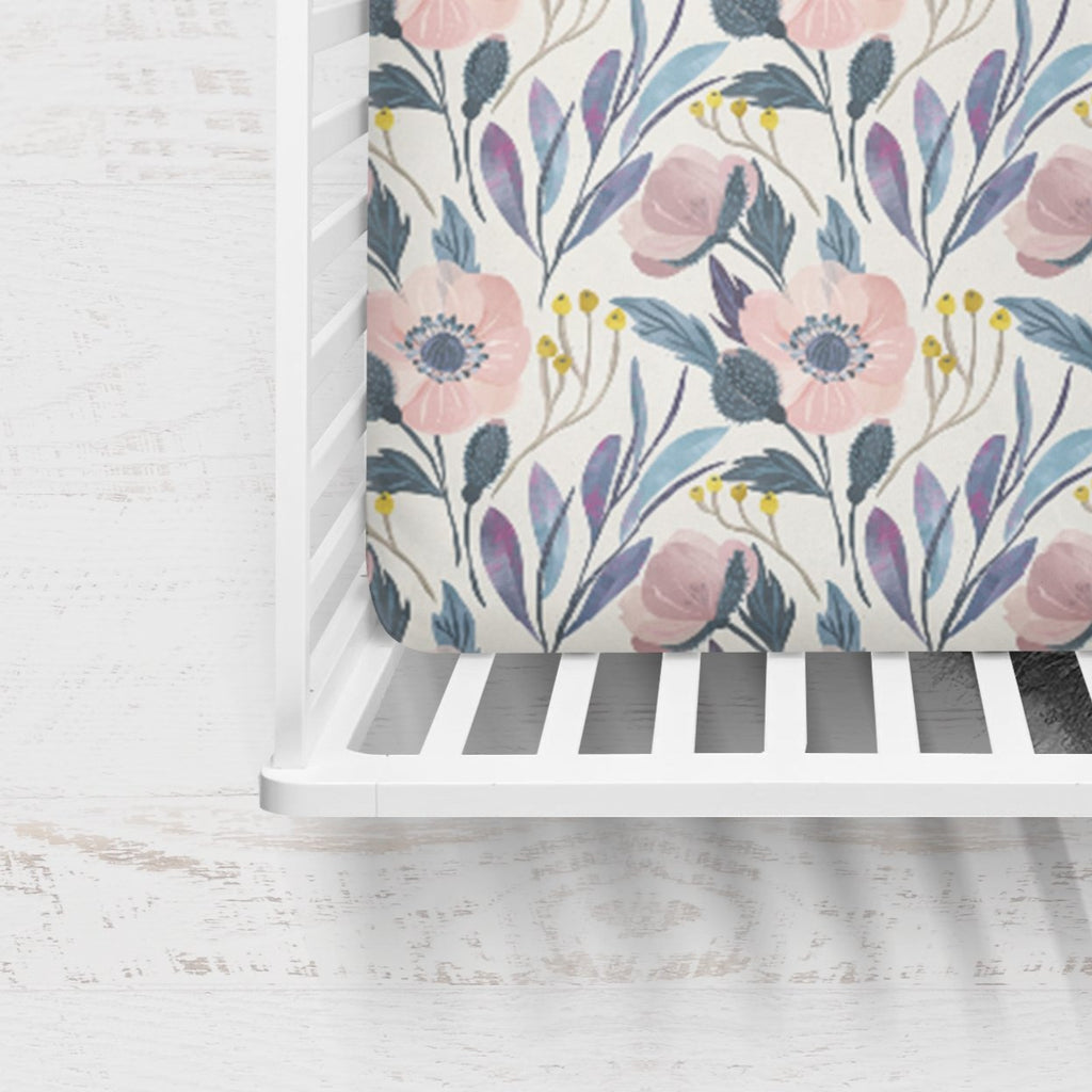 Holly's Hand Painted Flowers Crib Bedding
