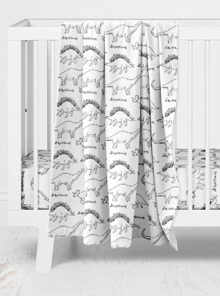Hudson's Hand Drawn Dinos Crib Bedding