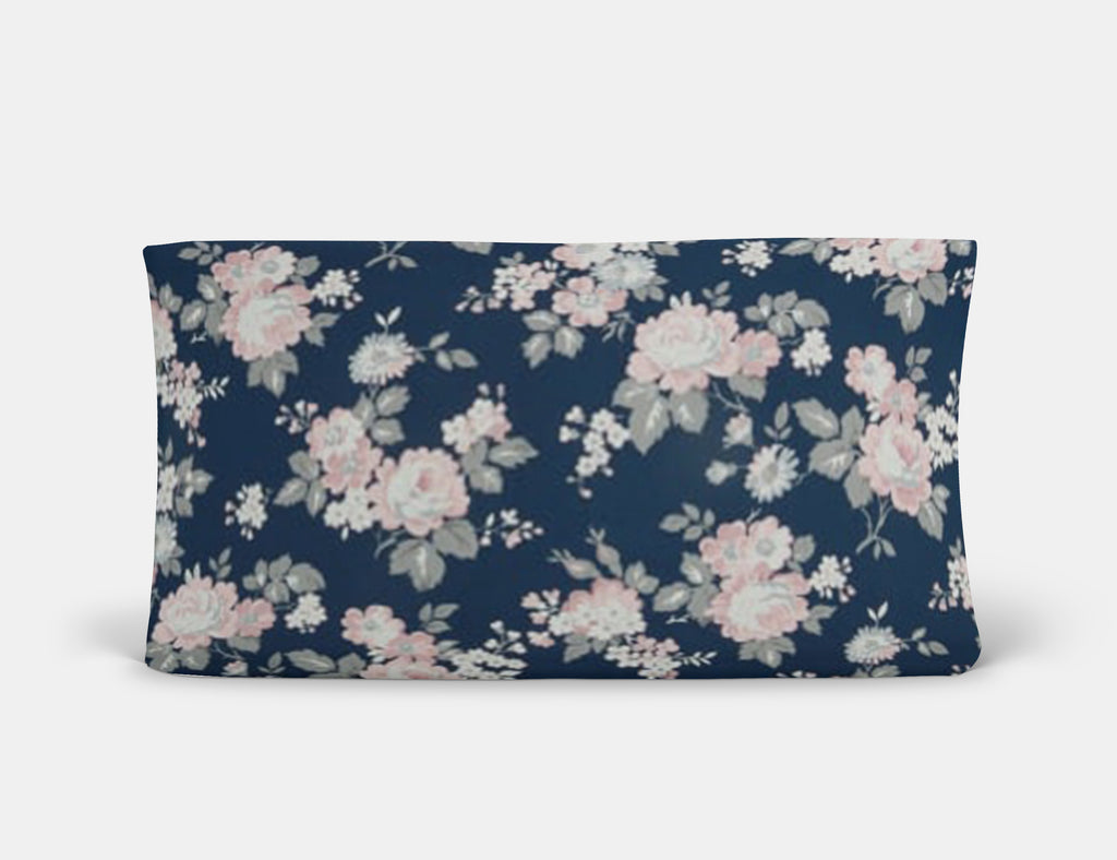 Majestic Navy Floral Changing Pad Cover