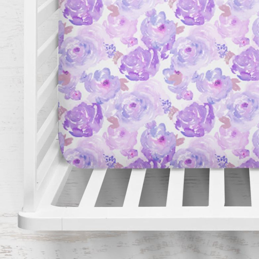 Ophelia's Orchid Watercolors Fitted Crib Sheet