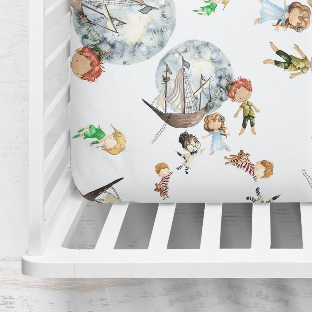 Peter Pan in White Crib Sheet