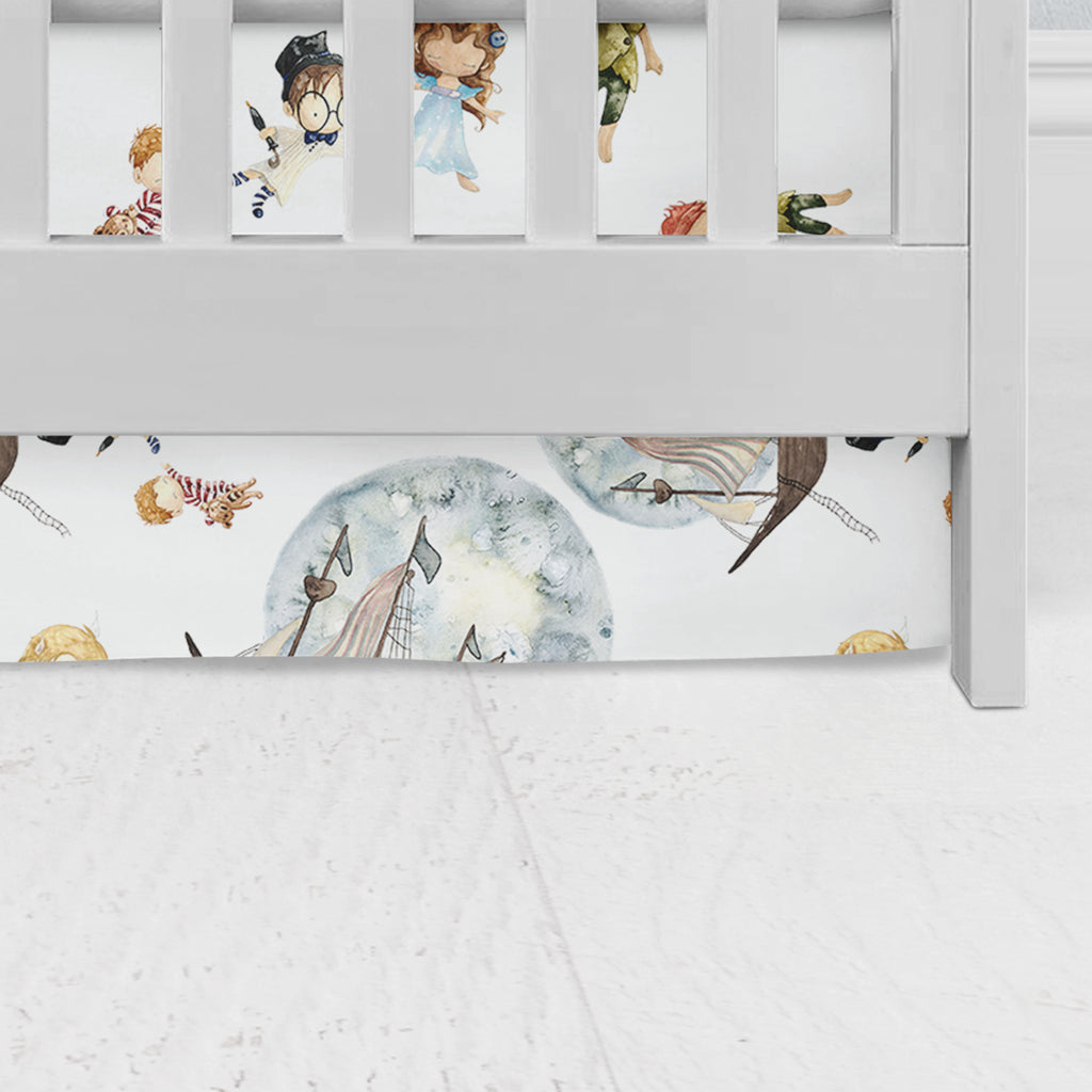 Peter Pan in White Flat Panel Crib Skirt