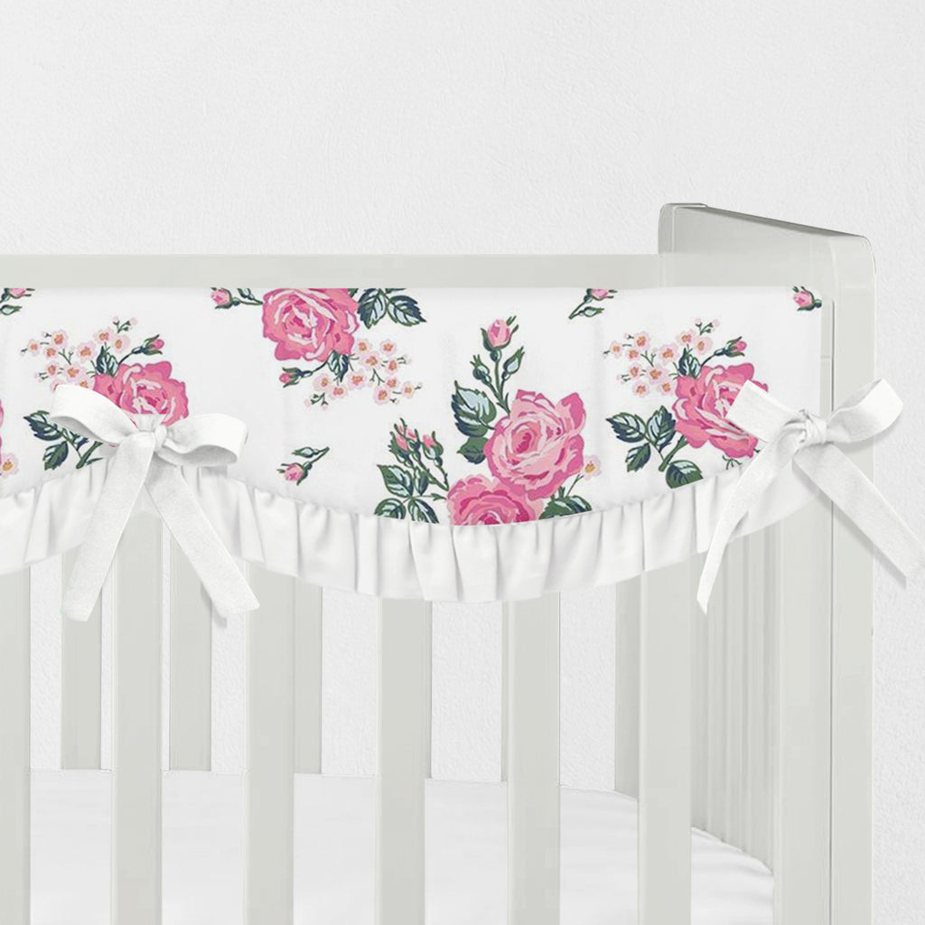 Pink Floral Scallop Ruffle Rail Cover