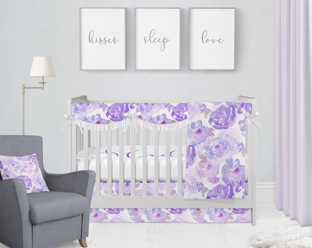 Ophelia's Orchid Watercolors Crib Bedding