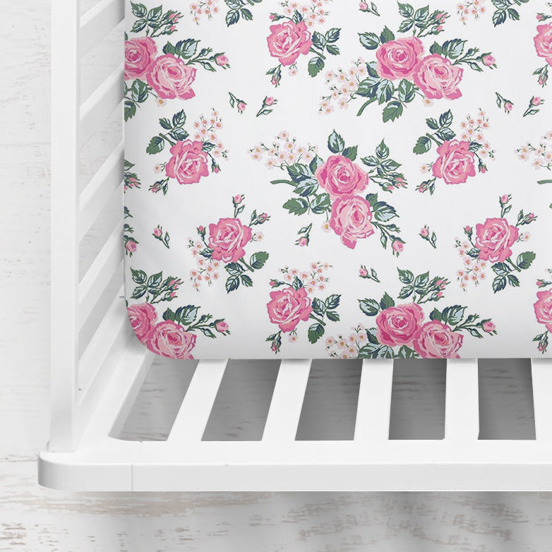 Riley's Rose Garden Fitted Crib Sheet
