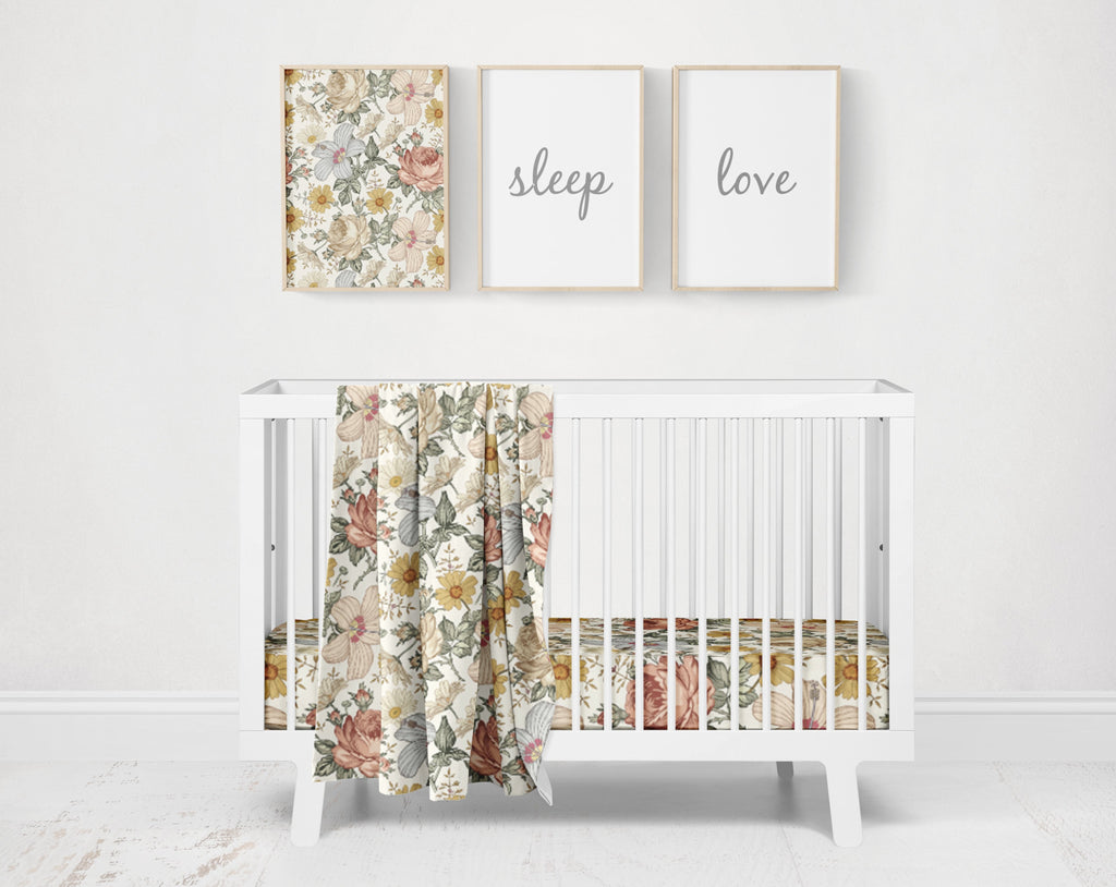 Vera's Vintage Flowers Crib Bedding