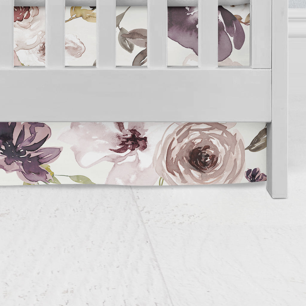 Chocolate Vanilla Floral Flat Panel Crib Skirt