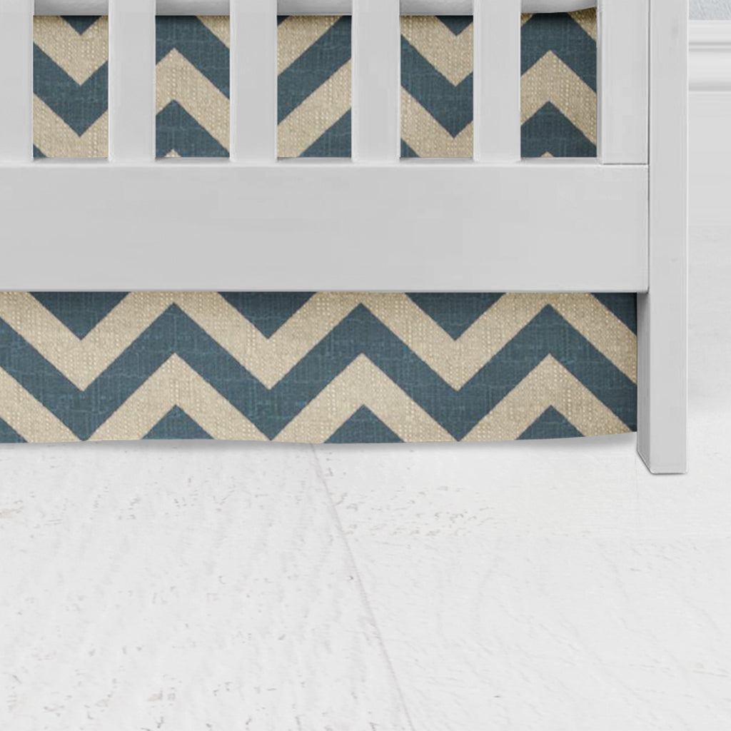 Denim Zig Zag Flat Panel Crib Skirt