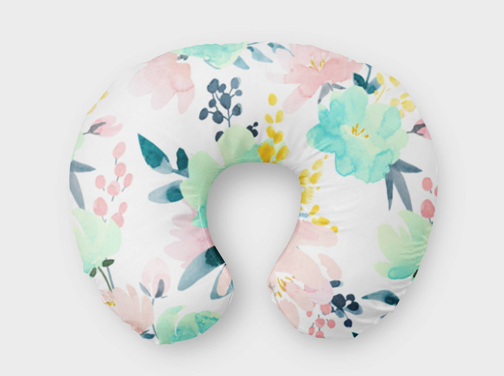 Portia's Peonies in Pink & Turquoise Boppy® Nursing Pillow Cover