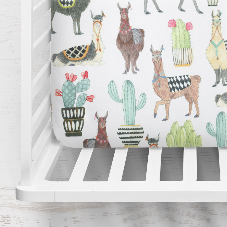 Lovely Llama Crib Sheet