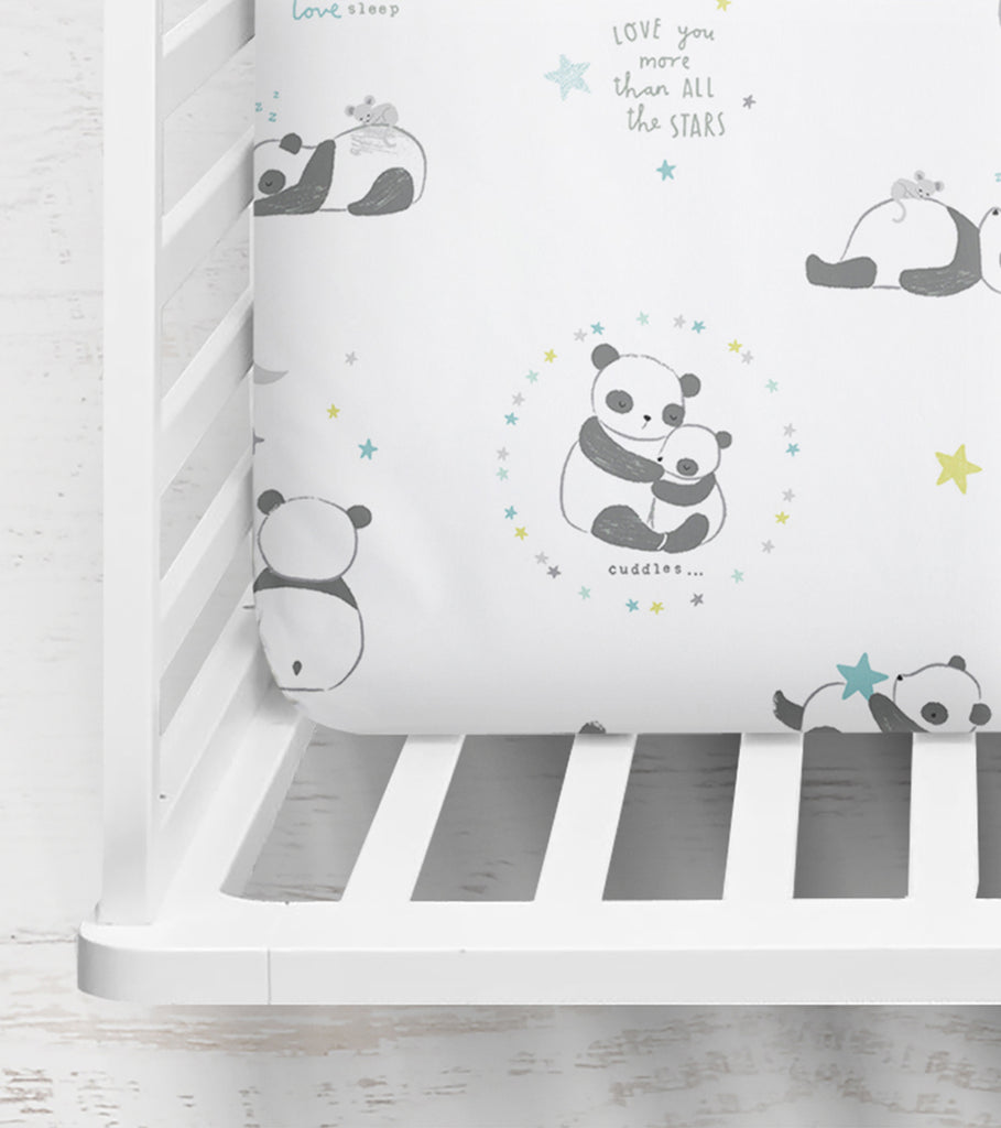 Wide Awake Panda Fitted Crib Sheet