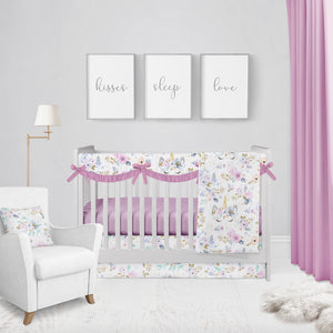 Unicorn Floral Crib Bedding Set