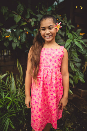 EveniKids Retro Dress - Swirly Pink