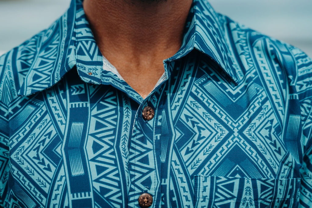Eveni Pacific Men's Classic Shirt - Island Paradise Blue
