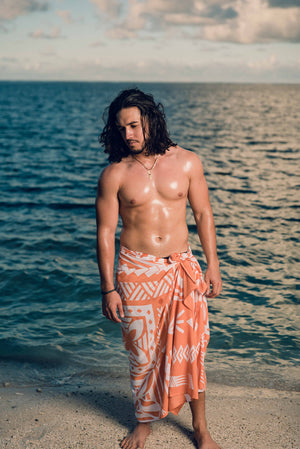 Koko Pacific Sarong - Peach/White