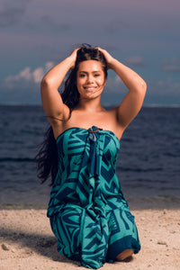 Koko Pacific Sarong - Green/Navy