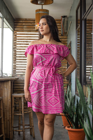Eveni Pacific Ladies Lulu Off the Shoulder Dress - Love Potion