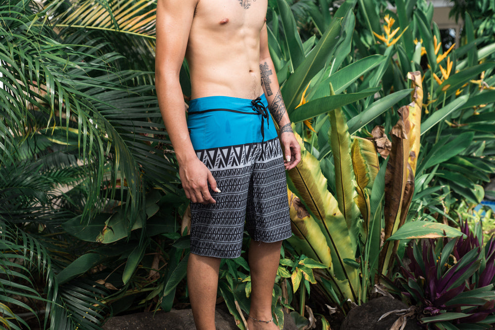 KP|Surf Board Shorts by Koko Pacific - Aqua