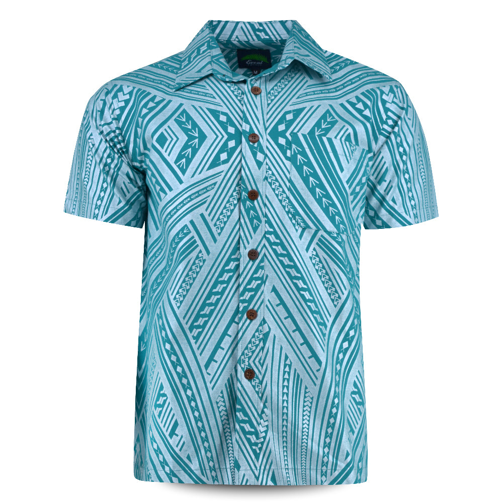 Eveni Pacific Men's Premium Metallic Shirt - Jade Bling