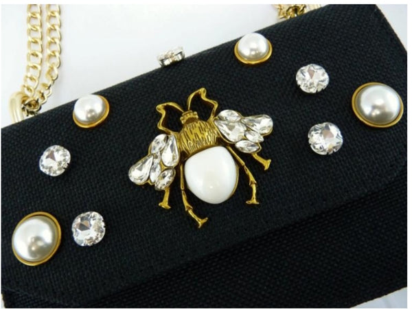 Black rhinestone and pearl bee purse | Handbag | [product-description]