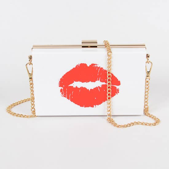 Lip Printed Plastic Case Clutch | clutch | [product-description]