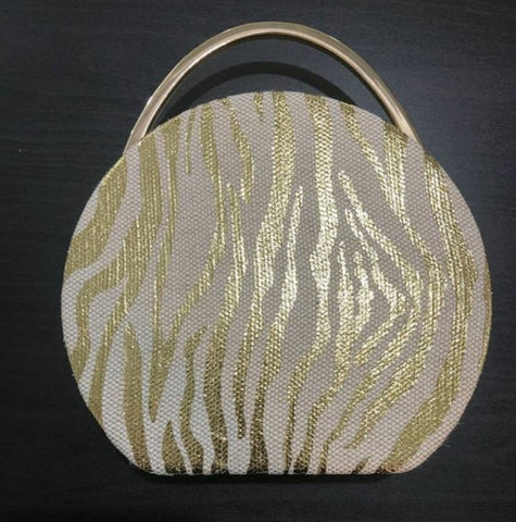 Round clutch creme and gold | clutch | [product-description]