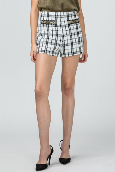 Plaid tweed high-waist shorts white/black |  | [product-description]