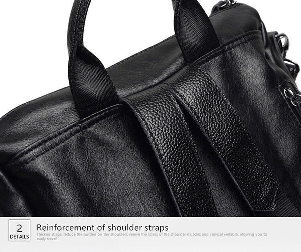 Convertible Shoulder Bag Leather Backpack